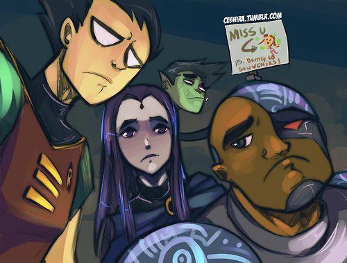 Robin Raven Beast Boy Cybord Teen Titans Dc Comics Fan Art  Teentitans -1625