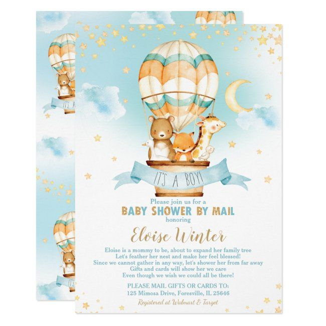 Hot Air Balloon Virtual Baby Boy Shower by Mail Invitation | Zazzle.com