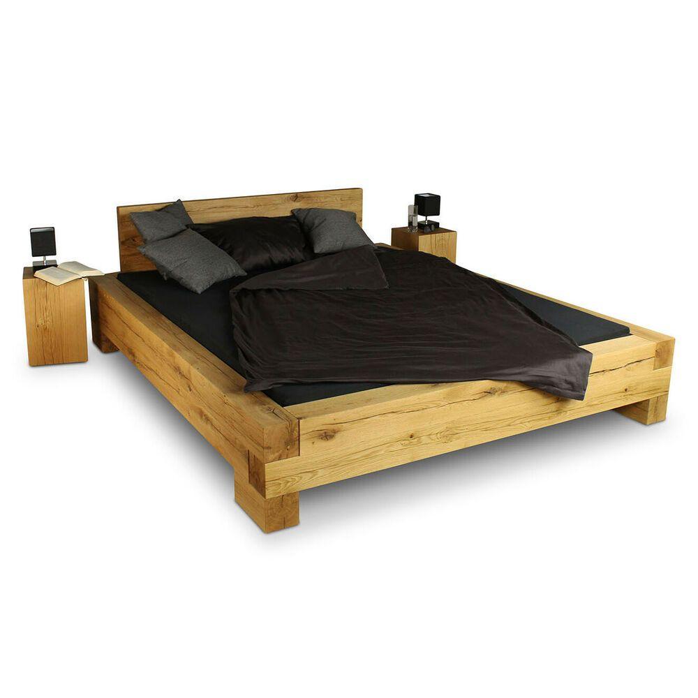 Balkenbett Doppelbett Massivholz Bett Wildeiche Massivholzbett Massiv Eiche Wood Bed Design Bed Furniture Bed Design