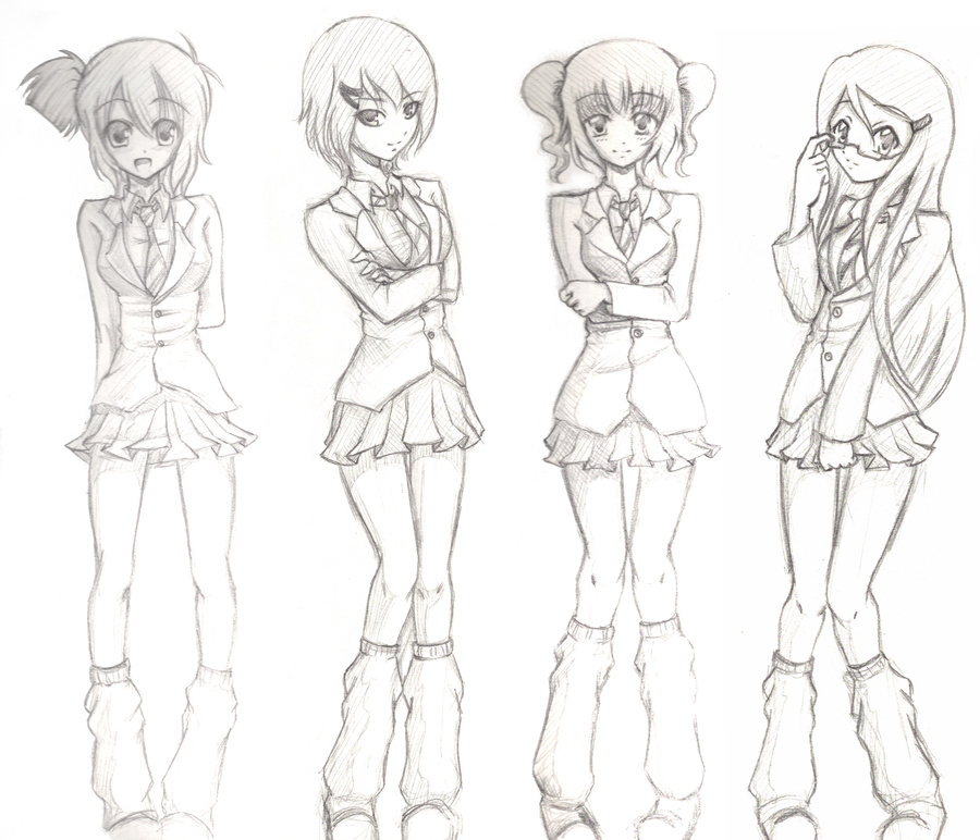 School girl sketches | Girl sketch, Sketches, Anime school girl