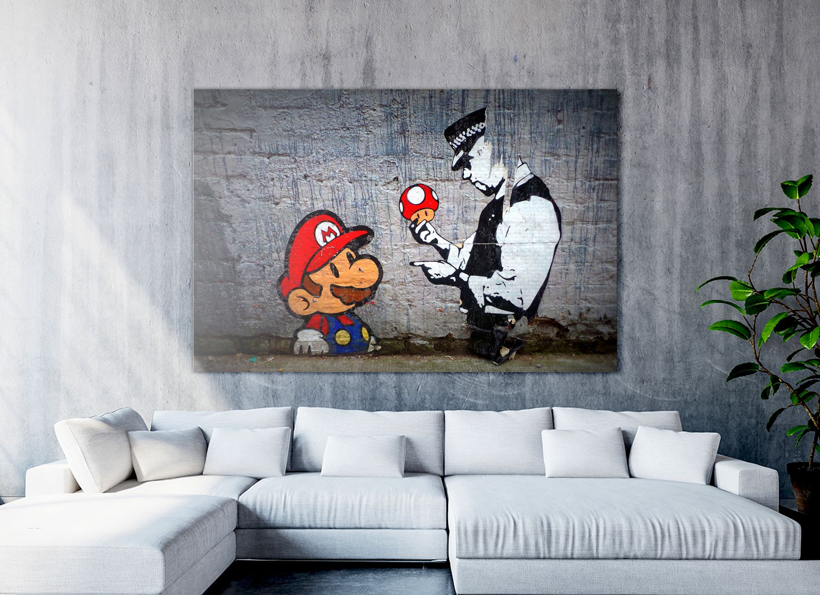 Banksy Mario Canvas Banksy Super Mario Wall Art Canvas Etsy In 2020 Banksy Wall Art Canvas Wall Art Banksy Posters