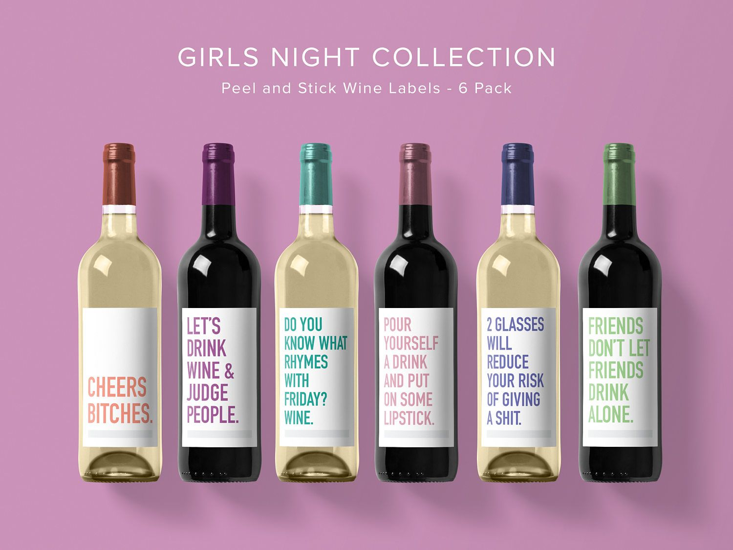 Girly Wine Label Collection Wine Label 6 Pack Funny Wine Labels Wine Label Wine Bottle Funny Wine Labels Wine Label Funny Wine Bottle Labels