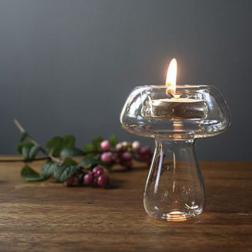 Hand Blown Glass Tea Light 'Mushroom'