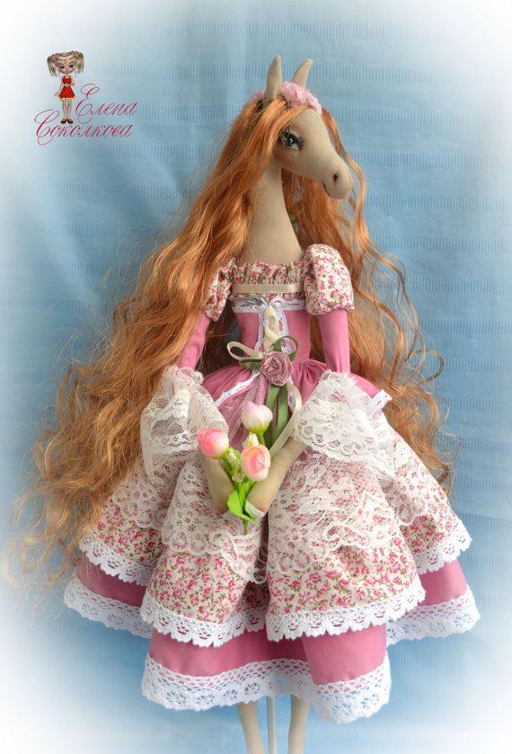 "Sarah. 21 "" Interior textil doll-horse. wall art. home decoration. Make a similar doll!"