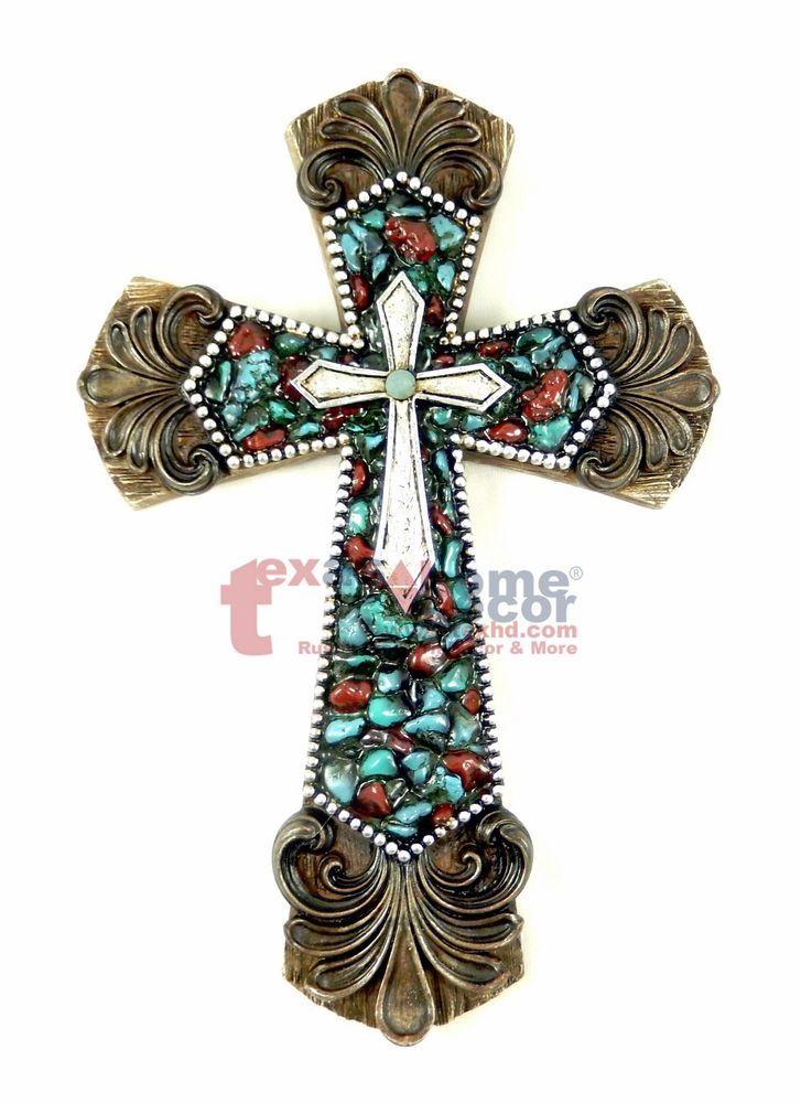 Fleur De Lis Decorative Wall Cross By Montana West Layered Stone Look  Silver #WallDecor