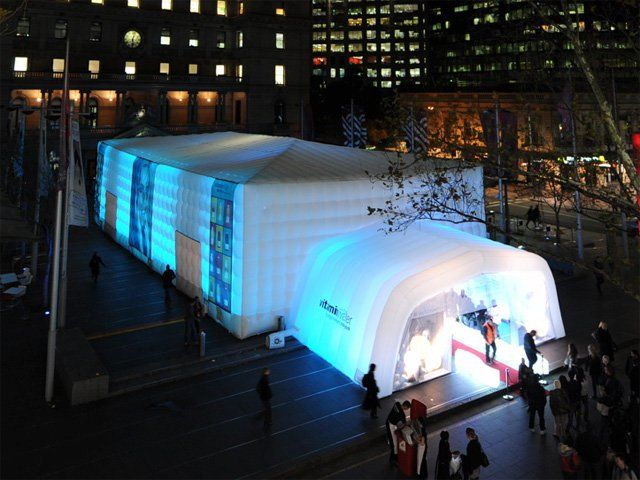Vitamin Water Promotional Cube And Airoof Large Inflatable Cube With Airoof Extension Providing Space For A Product Launch Li Inflatable Dome Event Lighting