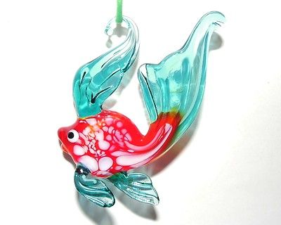 Glass Gold Fish Mouth Blown Christmas Tree Ornament Russian Murano