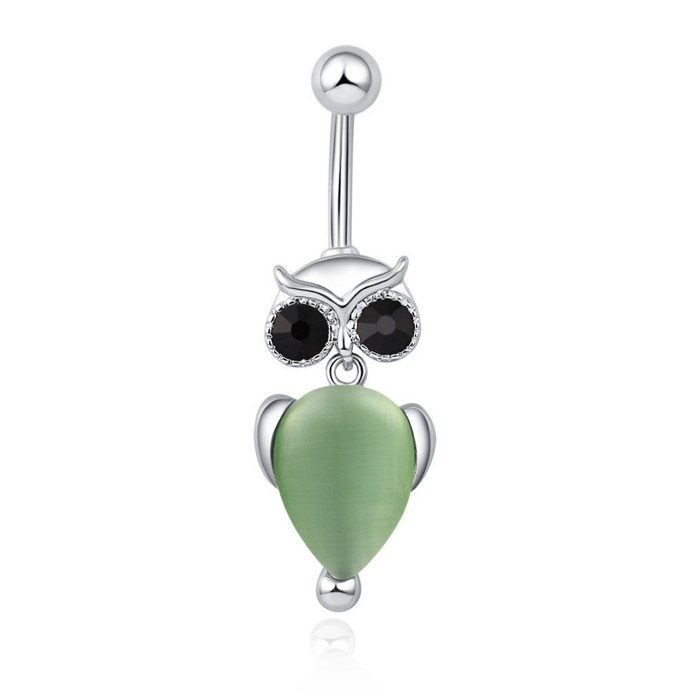 Crystal Owl Navel Ring (Fern) #Accessories #Belly-Rings #Birthday