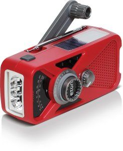 The American Red Cross FRX2 Emergency Radio can be charged using a hand crank or solar cell when grid power isn't available. It can also dump enough charge to your cell phone to let you make emergency calls