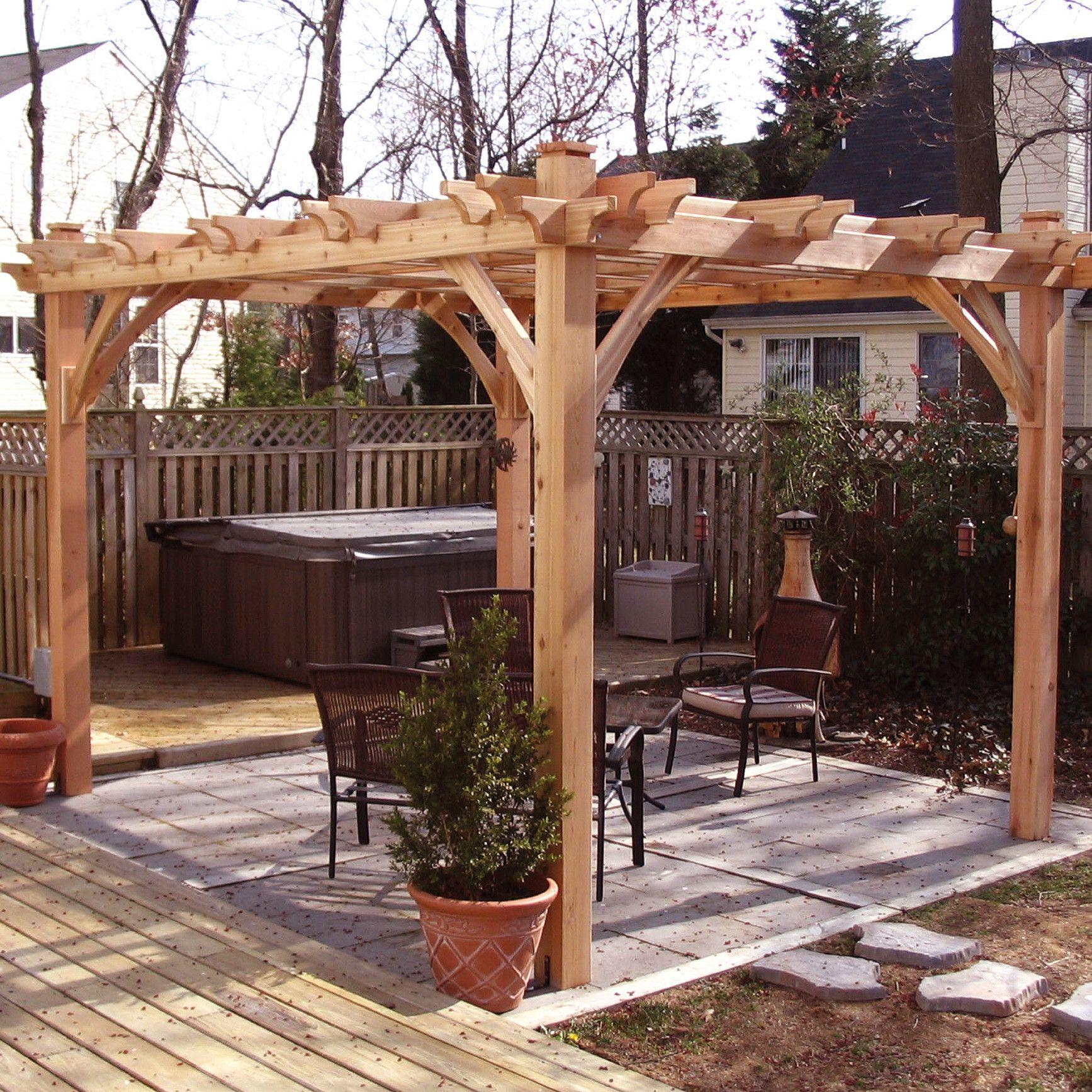 Breeze 8 Ft. W x 10 Ft. D Solid Wood Pergola Outdoor
