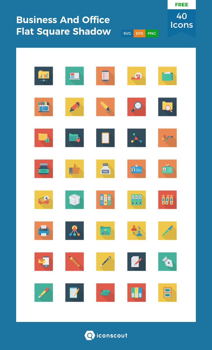 Download Download Business And Office Flat Square Shadow Icon pack ...