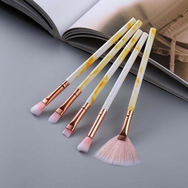 Marmor Design Makeup Pinsel Sets 5 Stück, 10 Stück, 15 Stück – Auge 5 Stück gelb