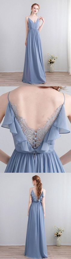 Blue v neck chiffon lace long prom evening dress 1400