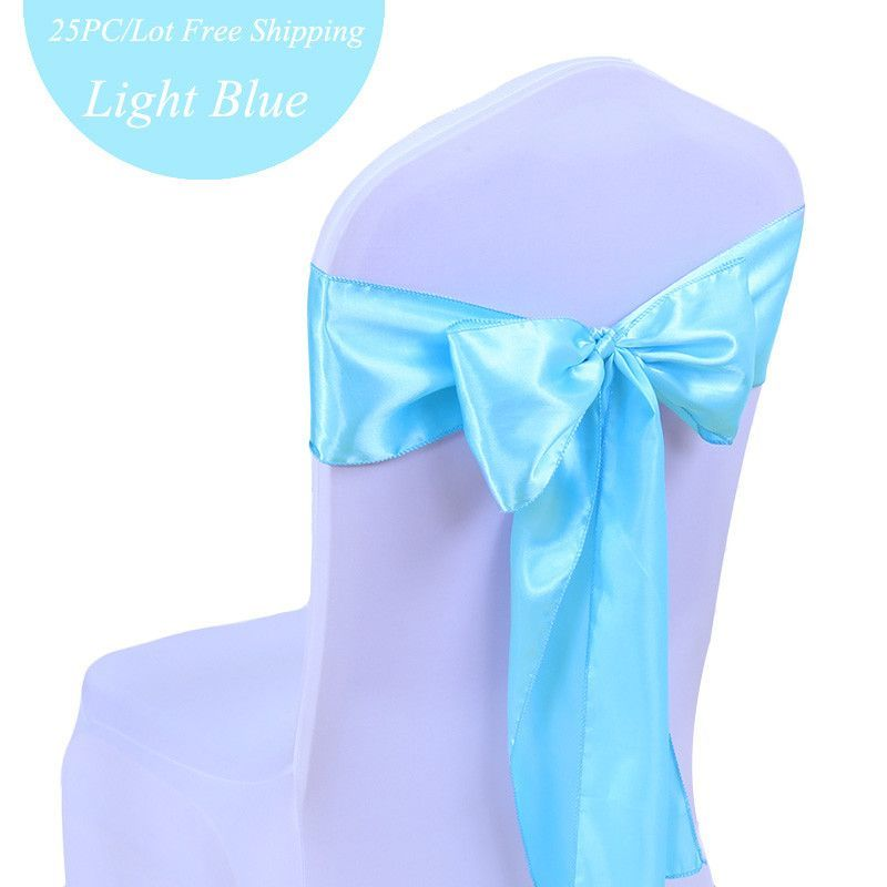 25PC/Lot Tiffany Blue Wedding Decoration Chair Satin Sashes Gold Satin Chair Sashes Bow Tie for Hotel Marriage Banquet Chair Bow