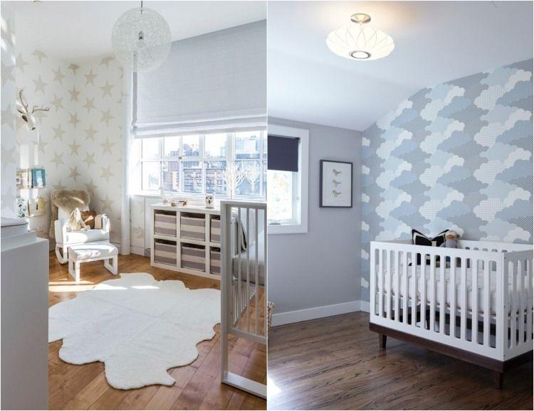 Babyzimmer Gestalten Geschlechtsneutral Sterne Wolken Wandgestaltung