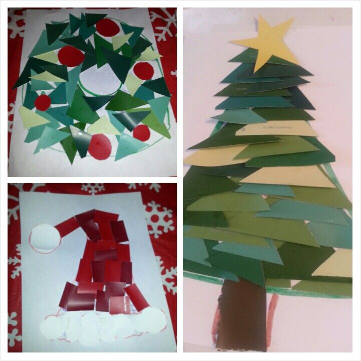 3 Christmas kids crafts using paint samples Draw an outline, cut