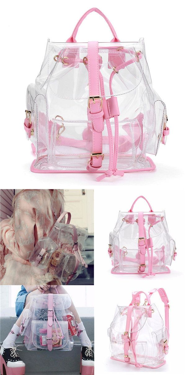 Women Girl Clear Backpack Cute Plastic Transparent School Bag ...