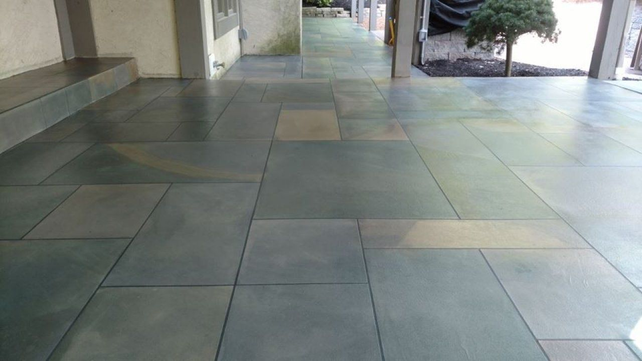 Stained And Designed Ashlar Slate Concrete Patio In Columbus, Ohio.