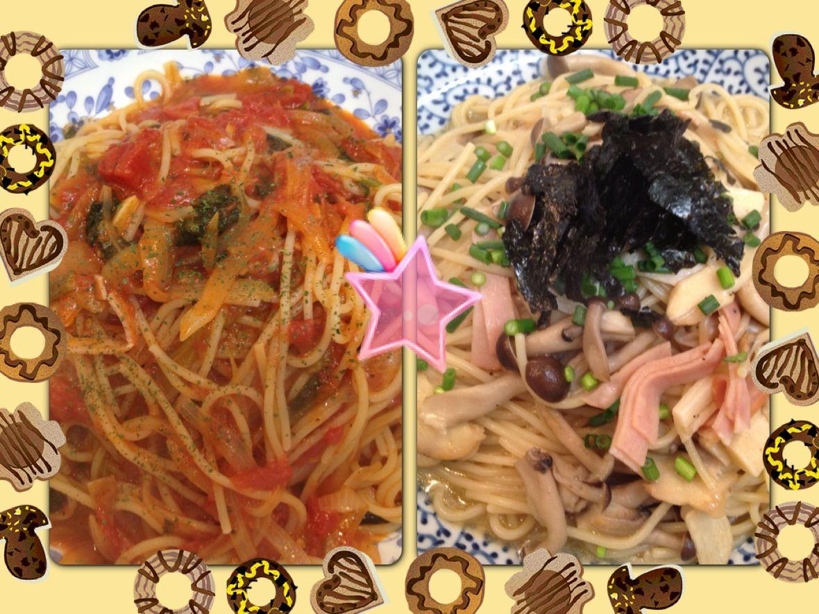 ハムとほうれん草のトマトパスタ&和風キノコパスタ