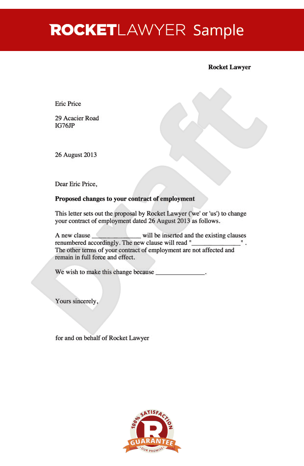 employment contract amendment letter