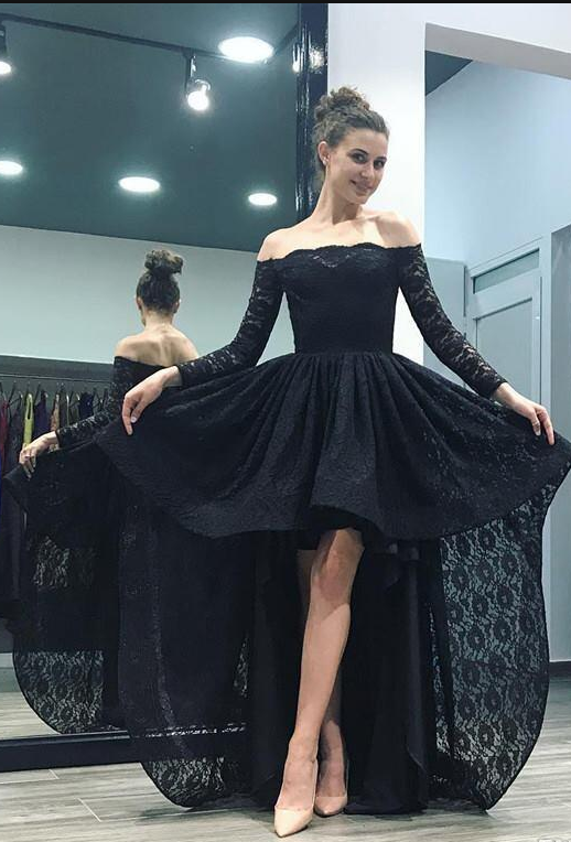 Unique Black Lace High Low Off Shoulder Prom Dresses Formal Gown Long Sleeve  Elegant  3f5cbecae0fd