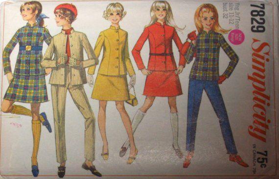 60s Vintage ALine Skirt Jacket Pants Simplicity by stumbleupon, $5.95