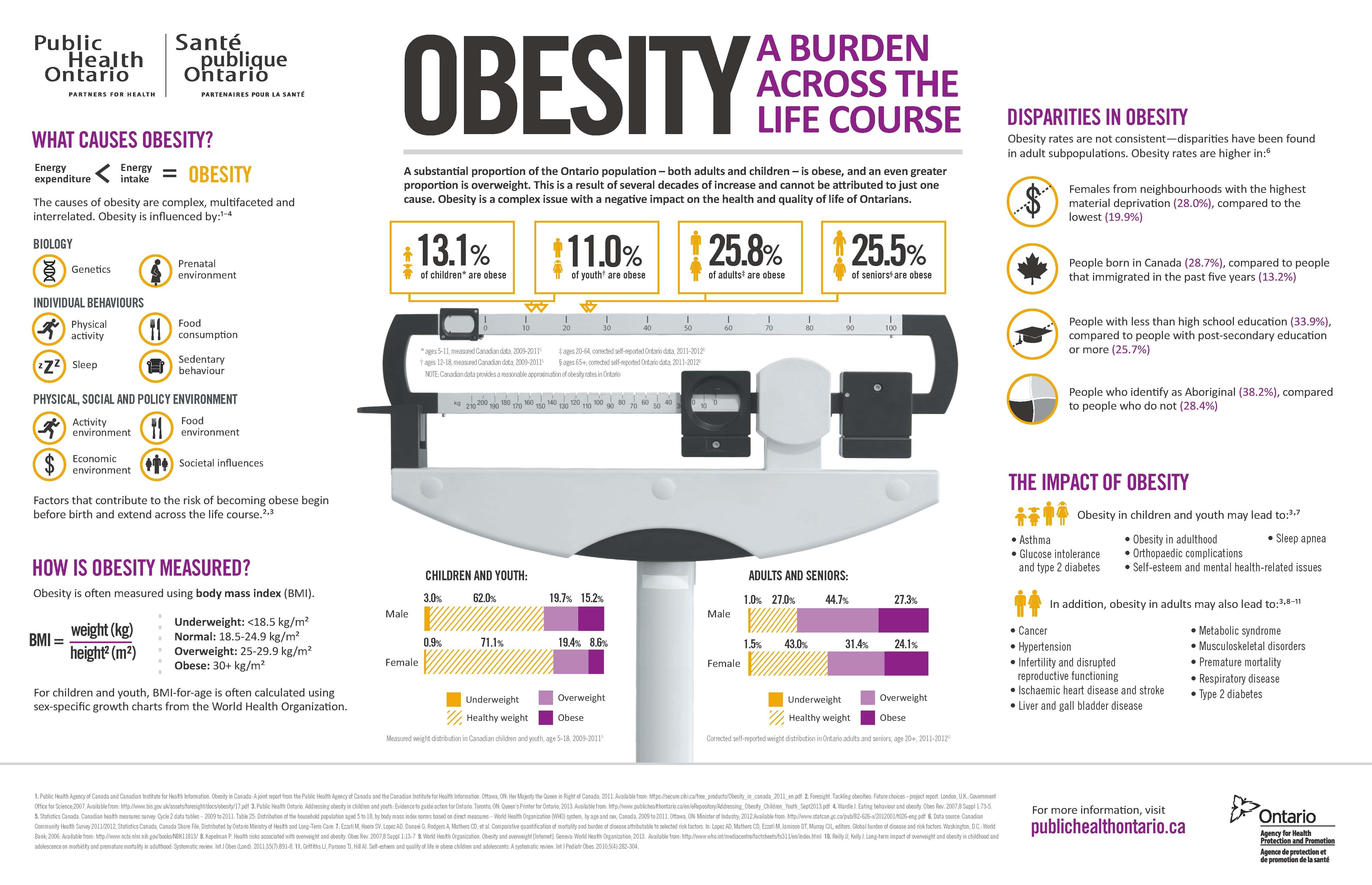 Infographic on obesity and how it negatively impacts the health and quality of life of Ontarians.  ​2014-04-16