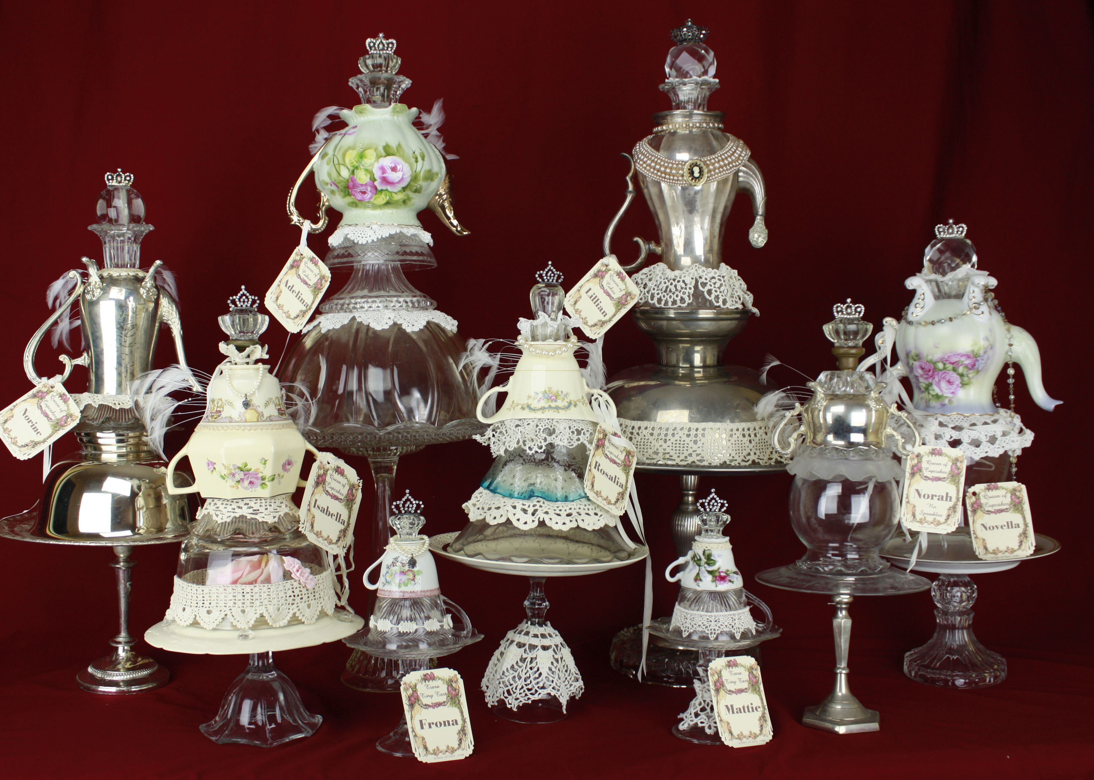 Look What Lexa from Wings of Lace is bringing to the Vintage Marketplace is June! Cupcake, Tart Stands made with silver, porcelain and glass dishes and candlesticks.