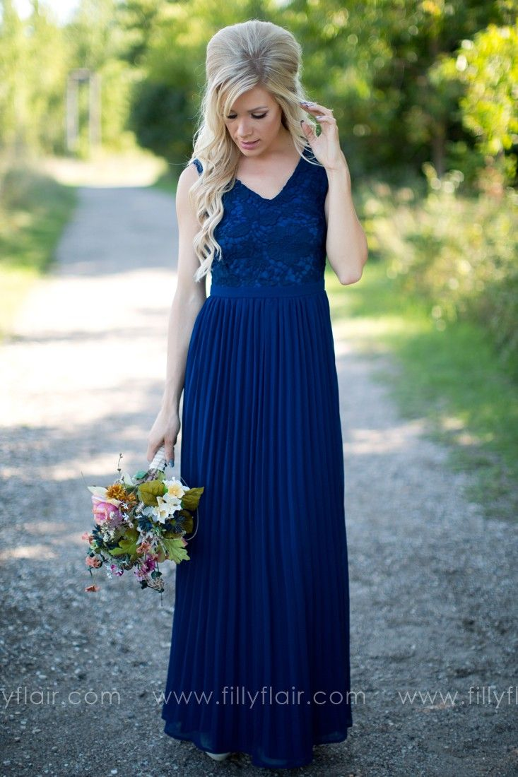 We can see your bridesmaids wearing this gorgeous long dress at bridesmaid navy dress with lace on top and pleated on bottomlength in small length in medium length in large in small bust in medium bust in large in small ombrellifo Image collections