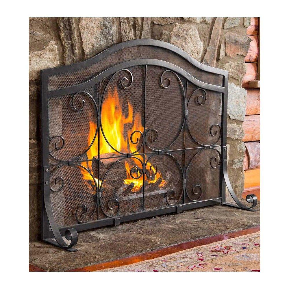 Plow Hearth Large Crest Flat Guard Fireplace Fire Screen Black Rejillas Para Chimeneas Puertas De Chimenea Pantallas Para Chimeneas