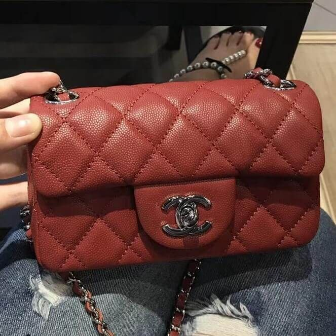 86ca8b11d217 Chanel Extra Mini Classic Flap Bag in Caviar Calfskin Red 2018
