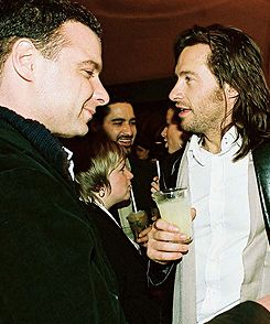 Liev Schreiber & Hugh Jackman pic 2 : Huggy is obviously trying to contain his snickers for the poor Stick