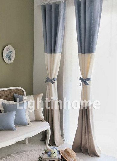 Blue Beige And Brown Custom Soundproof Nautical Curtains