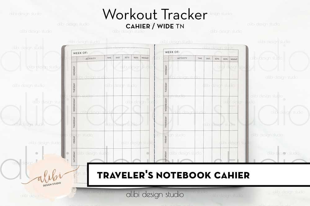 cahier tn workout planner fitness tracker for travelers notebook