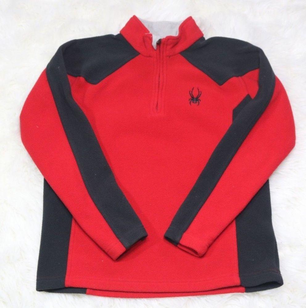 Details about spyder fleece jacket youth sz medium red black in