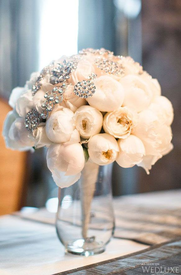 Tall White Peonies Wedding Centerpiece Idea