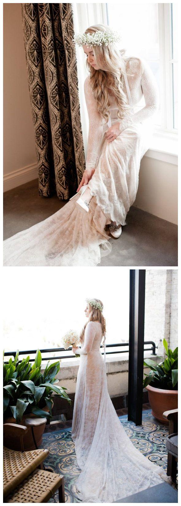 Plus size sheath lace wedding dresses long sleeve modest bridal