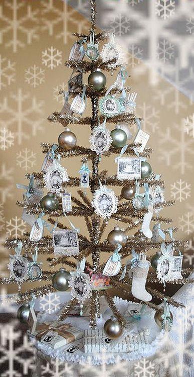A Positively Beautiful Blog Tinsel Christmas Tree Vintage Christmas Decorations Shabby Christmas