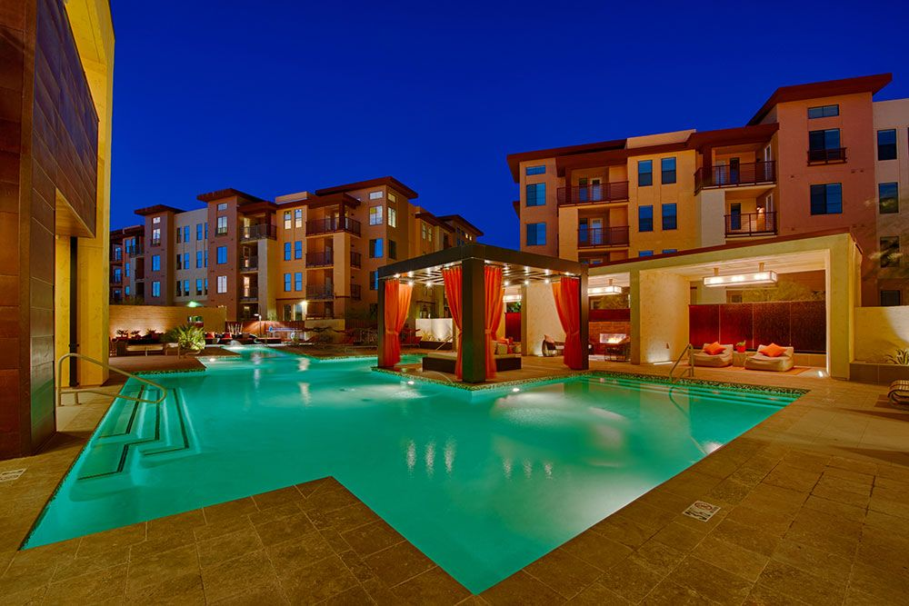 A view of the expansive swimming pool at our apartments