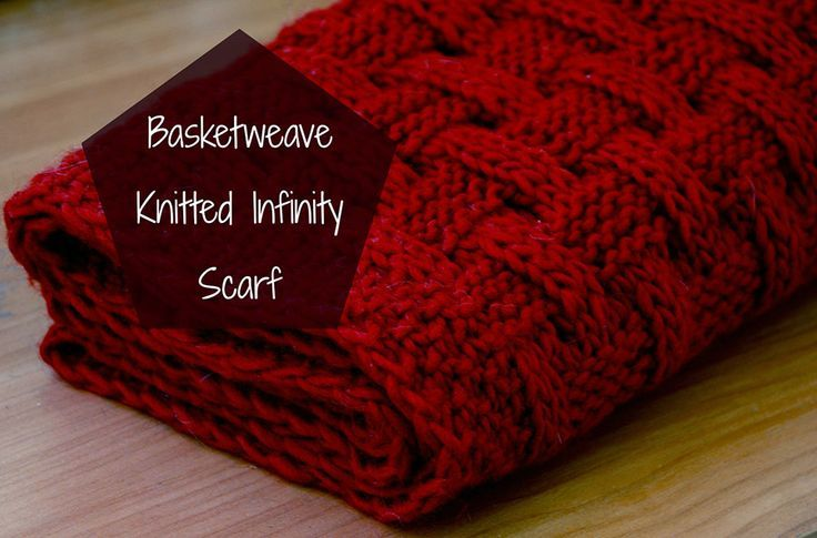 Basketweave knitted infinity scarf.