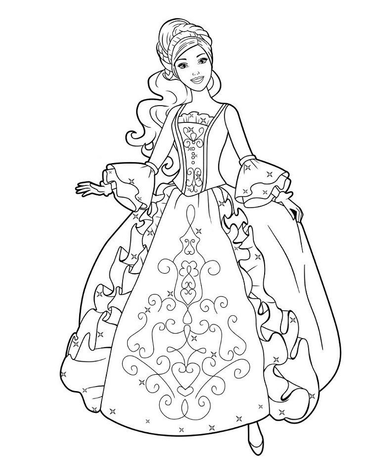 Barbie Coloring Pages Princess In 2020 Barbie Coloring Pages Disney Princess Coloring Pages Princess Coloring