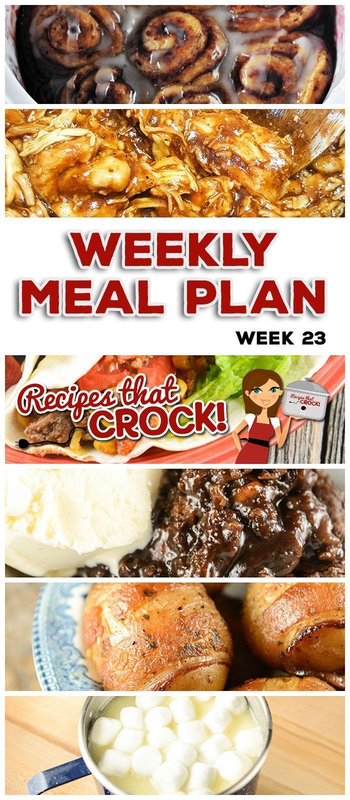 This week's weekly menu features Crock Pot Cinnamon Roll Mixed Berry Casserole, Crock Pot Hot Fudge Peanut Butter Cake, Crock Pot Hot White Chocolate, Crock Pot Creole Pork Chops, Crock Pot Bacon Taters, Crock Pot Beefy Tex Mex Tacos, Crock Pot Tuscan Bean Soup, Crock Pot Quick & Easy BBQ Chicken and Crock Pot Seafood Gumbo. #crockpotgumbo This week's weekly menu features Crock Pot Cinnamon Roll Mixed Berry Casserole, Crock Pot Hot Fudge Peanut Butter Cake, Crock Pot Hot White Chocolate, Crock P #crockpotgumbo