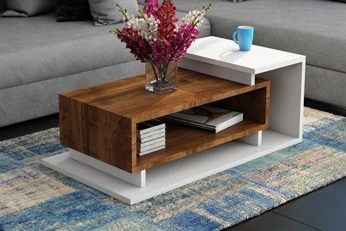 Table Basse Spring Br Blanc Et Imitation Noyer Table Basse Table Vente Privee