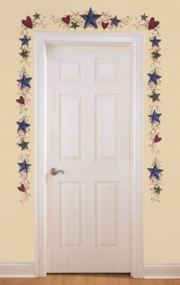 Country Primitive Stars Berries Wall