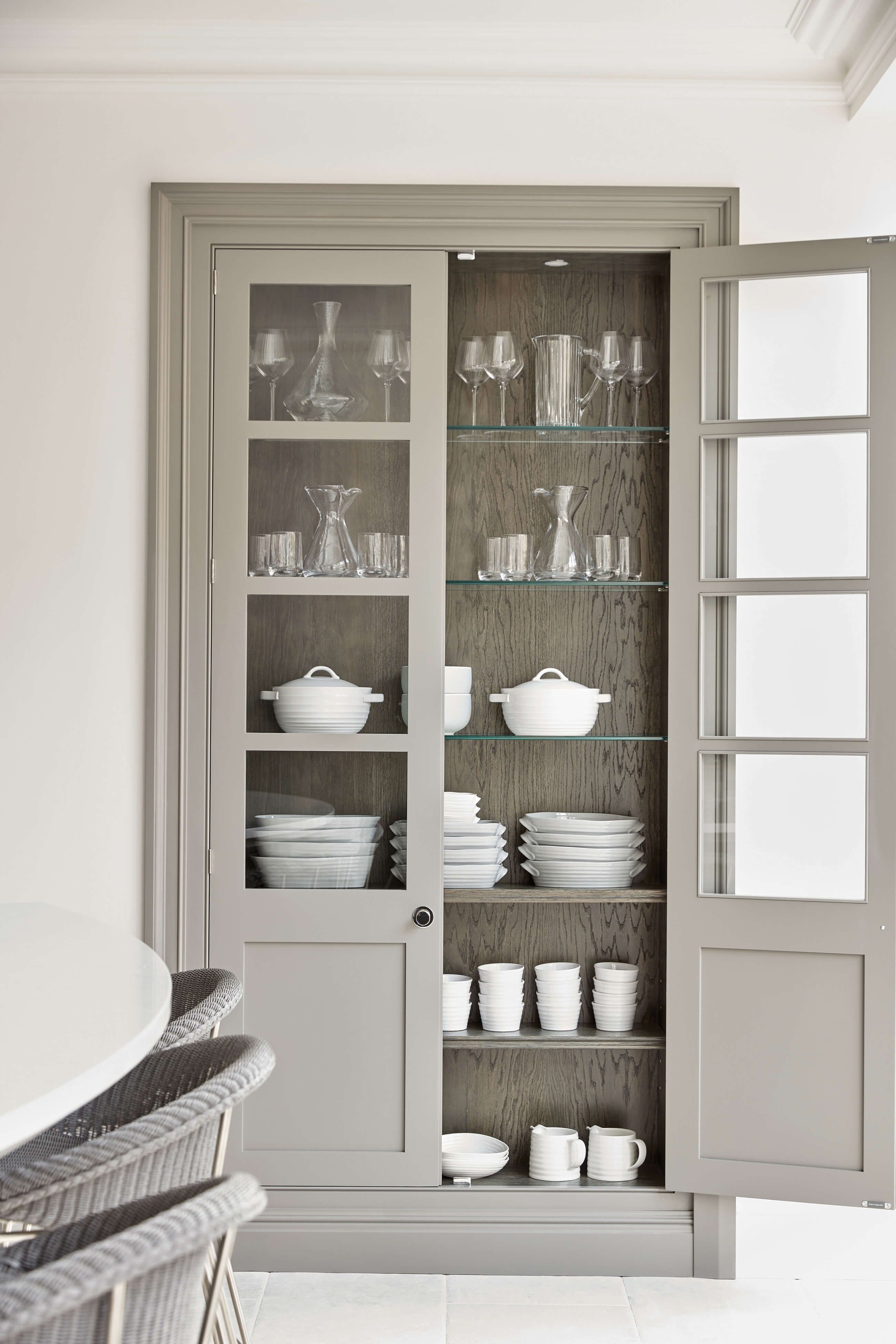 Grey Painted Kitchen Tom Howley Glass Kitchen Cabinets Kitchen Display Cabinet Glass Shelves Kitchen