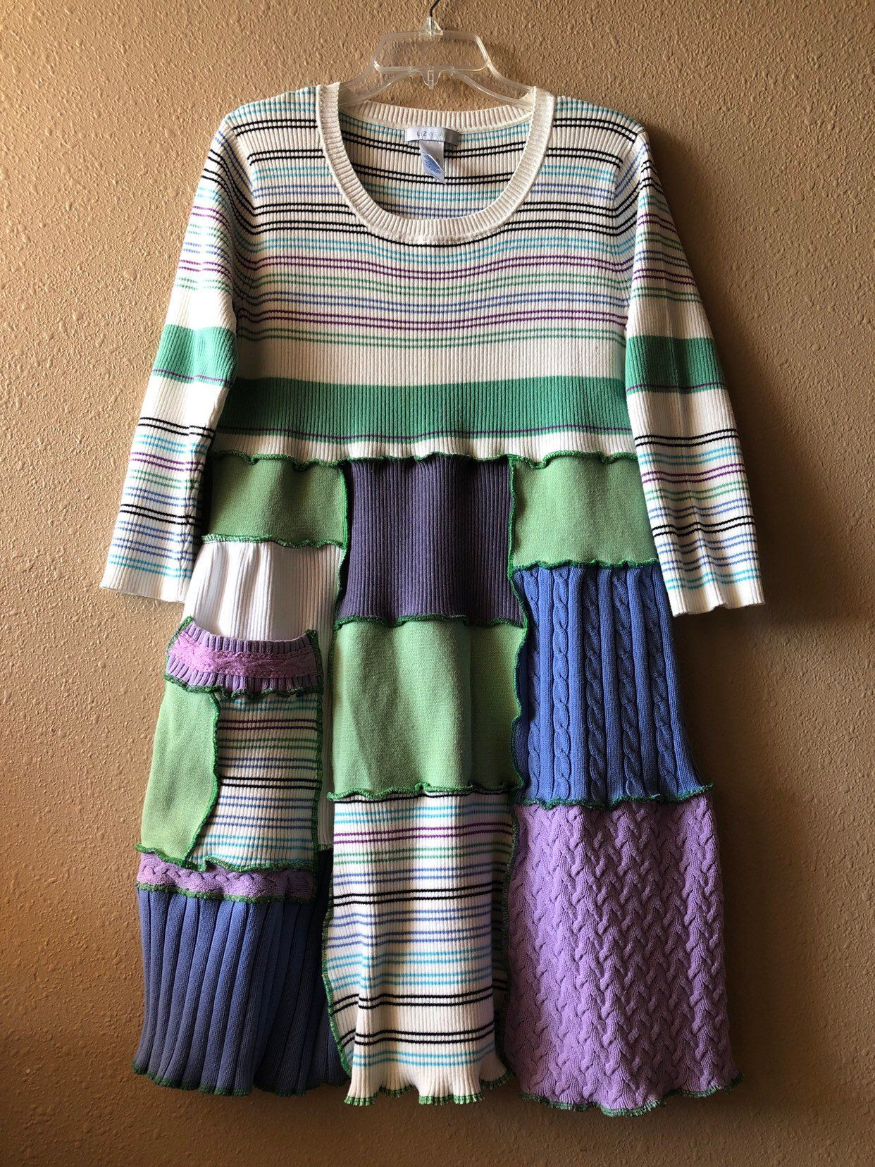 7dfd654b50e Excited to share this item from my  etsy shop  Upcycled Spring Patchwork  Sweater Dress