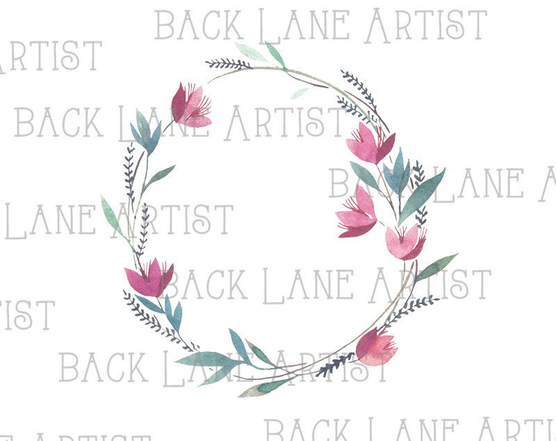 Floral Wreath Flowers Frame Wedding invitation Watercolor Drawing ...