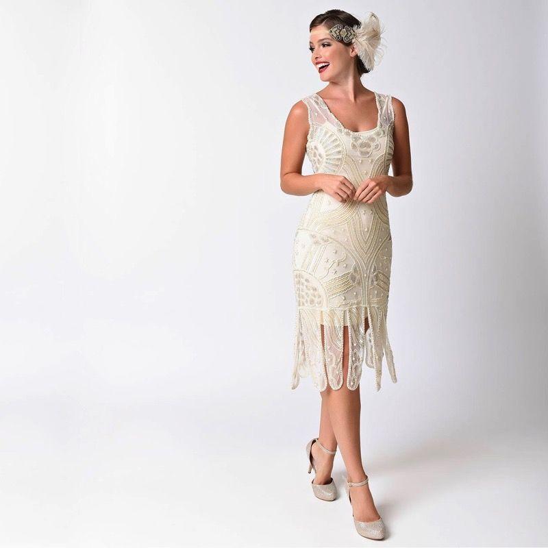 1920s Ivory Beaded Flapper Wedding Dress Gatsby Dress 1920s Wedding Dress Deco Wedding Dress Lace Wedding Dress Vintage