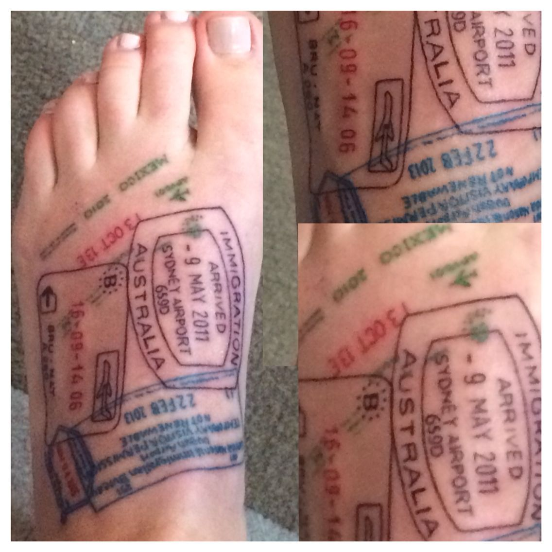 67be1155e0bfe My passport stamps as a tattoo. #passporttattoo #traveltattoo #traveltattoos