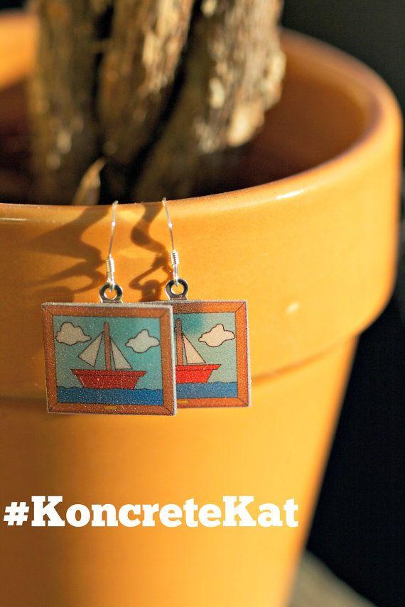 Simpsons Sailboat Painting Earrings by KoncreteKat on Etsy